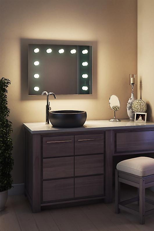 Diamond X Wallmount Hollywood Makeup Mirror & Dimmable LED k95CWbath