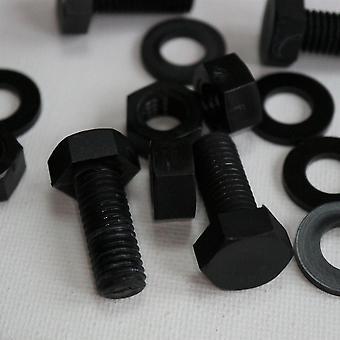 20x svart nylon hex huvud, M10 x 25mm, plastmuttrar och bultar, brickor, Hexagon, Nylon