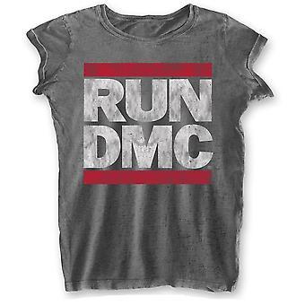 Run dmc ladies tee: dmc logo (burn out)