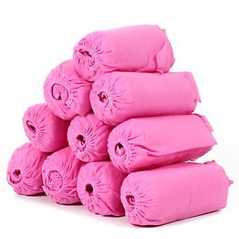 100pcs Vlies Stoff Einwegschuhe Abdeckungen elastische Band atmungsaktive staubdichte Anti-Rutsch-Schuh-Abdeckungen (rosa)