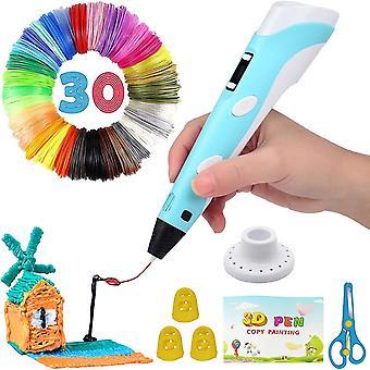 Caraele Intelligent 3d Pen avec écran LED, stylo d'impression 3D avec charge USB, recharges de filament Pla 30 couleurs, Pla & Abs compatible, craf Arts parfait