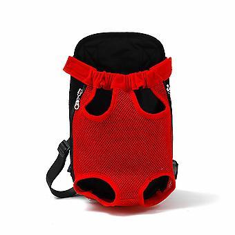Les chats et les chiens sortent de la poitrine portable Sac à dos rouge respirant (taille l)