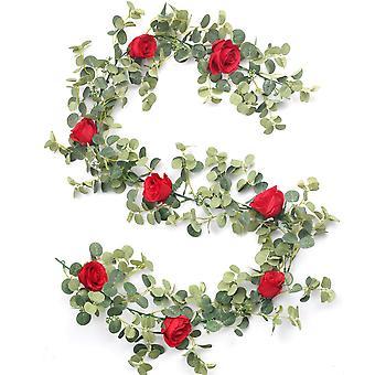 8 Red Roses Artificial Flower Silk Flowers Rose Leaf Garland Vine Ivy Party Wedding Garden Halloween Christmas Deoration