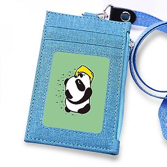 (Blue)Leuyuan Id Badge Case Holder With 1 Id Window And 3 Card Slots And Zipper Coin Pocket