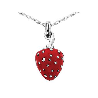 Sterling Silver Red Enamel Strawberry Charm Pendant Necklace with Chain