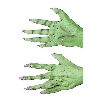 Guanti guanti di lattice verde mostro/strega