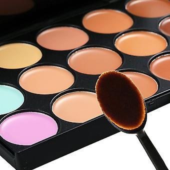 15 shades väri peitevoide meikki paletti Kit muodostavat Set + soikea muodostavat harjalla