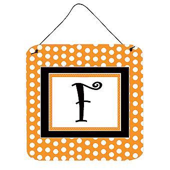 الحرف F مونوغرام الأولية-أورانج بولكادوتس الجدار أو الباب معلقة يطبع