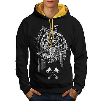 North Viking Warrior Men Black (Gold Hood)Contrast Hoodie | Wellcoda