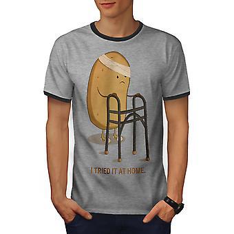 Ich habe versucht, Männer Heather Grey / Heather dunkles GreyRinger T-shirt | Wellcoda