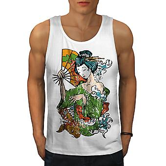Asia Girl Japan Men WhiteTank Top | Wellcoda