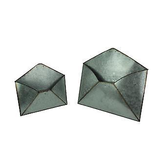 Set of 2 Galvanized Zinc Finish Envelope Wall Baskets