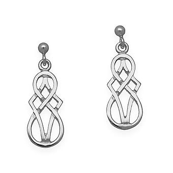 Sterling Silver Traditional Celtic Eternity Knotwork Design Pair of Earrings - E97