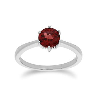 Classic Round Garnet Claw Set Single Stone Ring in 925 Sterling Silver 270R055603925