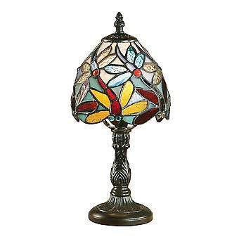 Interiors 1900 Lorette Dragonfly Miniature Bedside Tiffany Lamp
