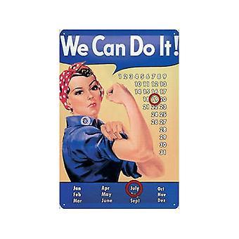 Rosie la remachadora podemos.. Calendario eterno acero (300 Mm X 200 Mm)