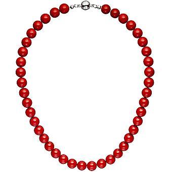 Halsband kedja shell core Pearl Pearl röd 45 cm halsband