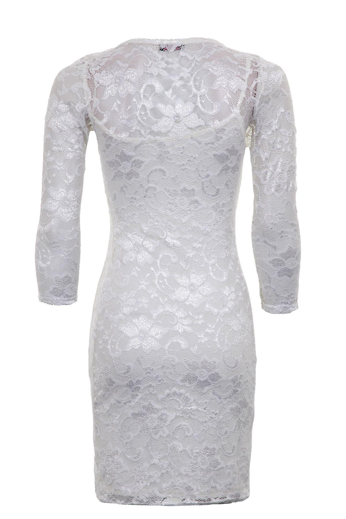Naisten pitkähihainen Lace kukka vuorattu Bodycon Womens Dress