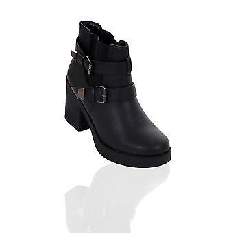 Biker Bottes Chaussures dames Platform Bloquer Chunky talon moyen avec lanière boucle Femmes