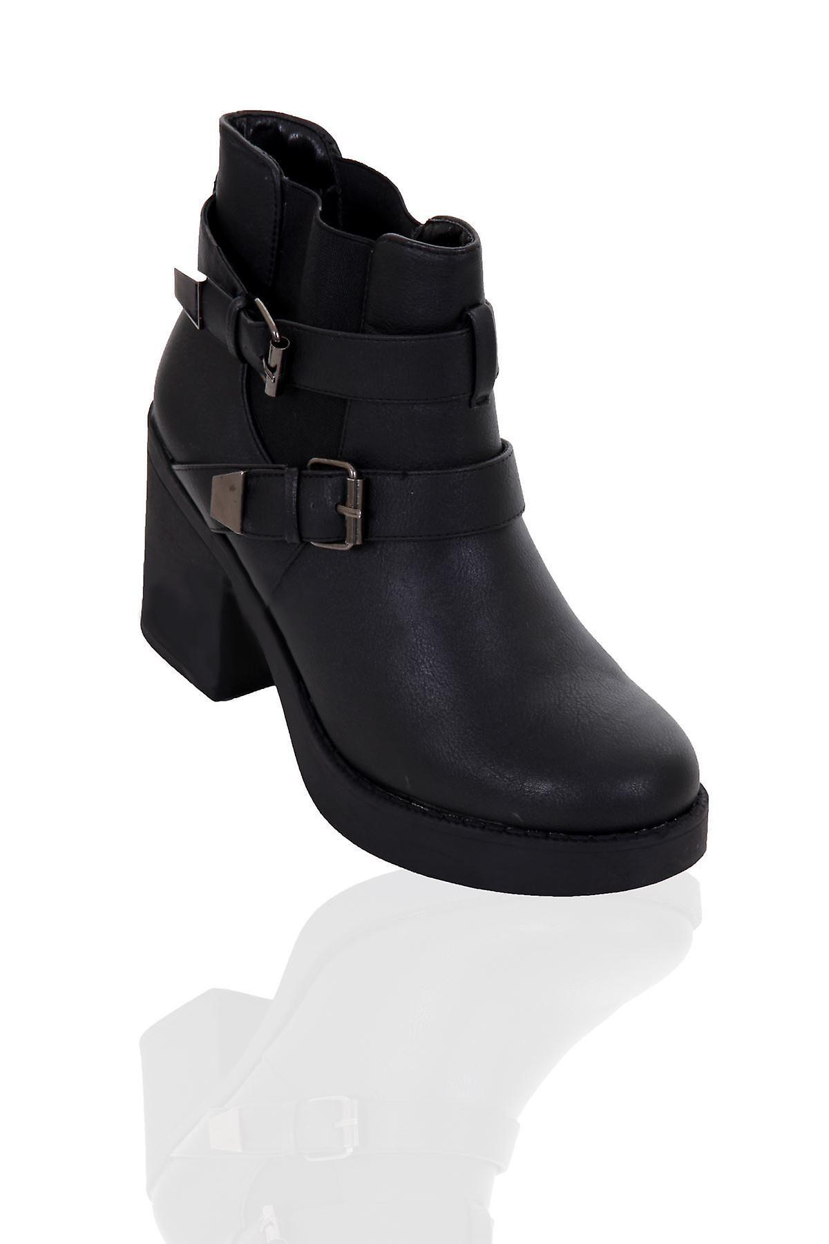 Naisten Platform lohko paksu puolivälissä kantapää hihna solki naisten Biker Boots kengät