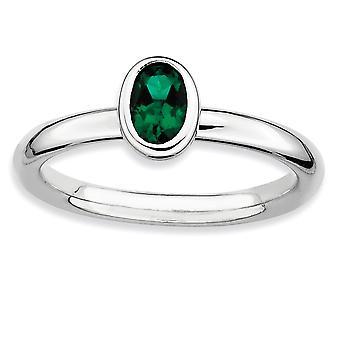 925 Sterling Sølv Ramme Polert Stablet Uttrykk Oval Opprettet Smaragd Ring Smykker Gaver Til Kvinner - Ring Størrelse: