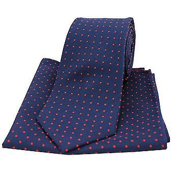 David Van Hagen Pin Dot slips og Pocket Square sett - Navy/rød