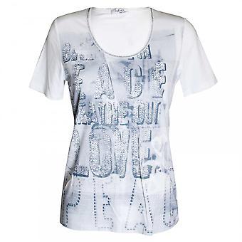 Faber White Short Sleeve Printed T-shirt
