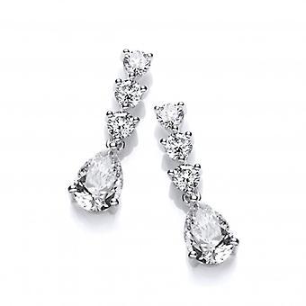 Cavendish French Triple CZ Teardrop Sterling Silver Stud Earrings