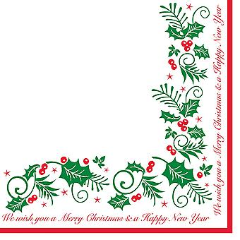 Jolly Holly Christmas Napkins 3 Ply 40cm