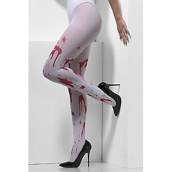 Opaque Tights, White, with Blood Splatter