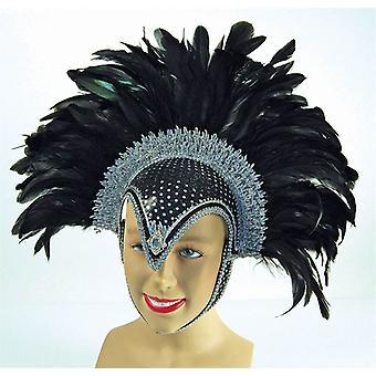 Feather Helmet Black Jewel + Plume.