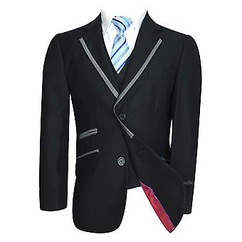 Joe Cooper Boys 5 pezzo nero vestito con tubazioni d'argento