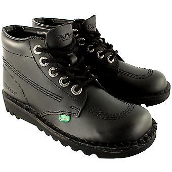 Unisex barna Junior kickere Kick Hei sort Patent tilbake til skolen sko