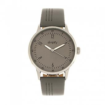 Simplify The 5700 Leather-Band Watch - Grey
