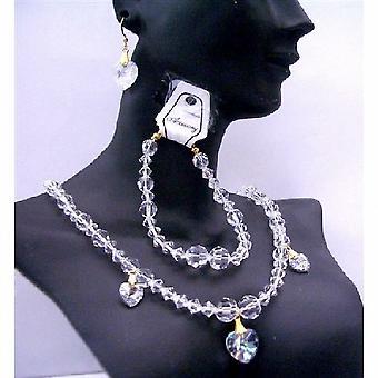 Wedding Bridal Jewelry Clear Swarovski Crystals Necklaces Bracelet Set