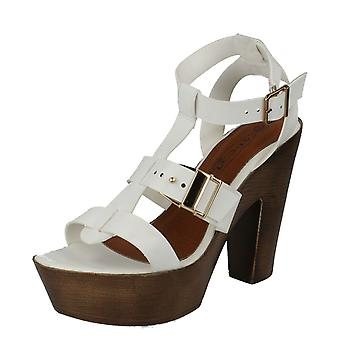 Ladies Spot On Wood Clog T-Bar Sandals F10454