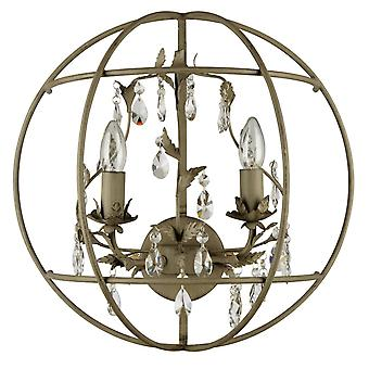 Glasberg - Wall Light Two Light In Sand Grey With Crystals 104021902