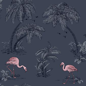 Holden Flamingo Lake Wallpaper Palm Trees Tropical Birds Midnight Blue Pink