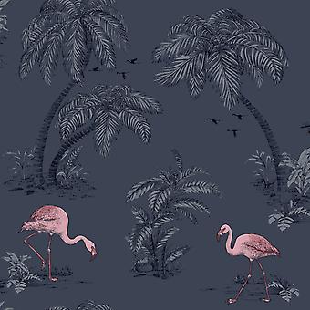 Holden Flamingo Lake behang Palm bomen tropische vogels Midnight blauw roze