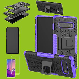 Saco de caso híbrido roxo para Samsung Galaxy S10 G973F 6.1 polegadas + vidro duro de 4 d H9