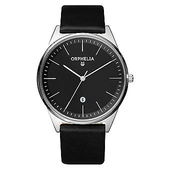ORPHELIA メンズ アナログ腕時計シンプル黒革 OR61505
