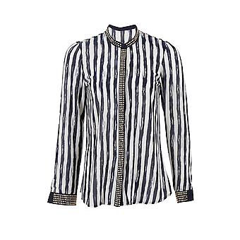 Ladies Long Sleeve Studded Collar Sleeves Chiffon Striped Women's Blouse Shirt