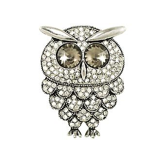 Eternal Collection Snowy Owl Austrian Crystal Silver Tone Brooch