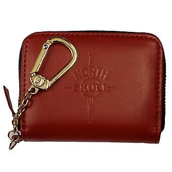 NorthSkull rouge mat cuir pièce porte-monnaie portefeuille
