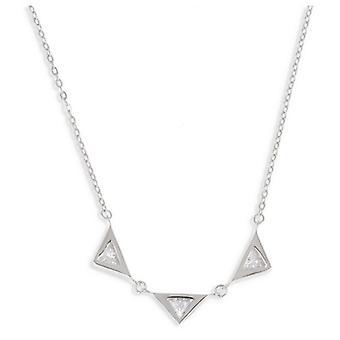 Rhodié Triangle Silver Necklace With 45cm Cubic Zirconia