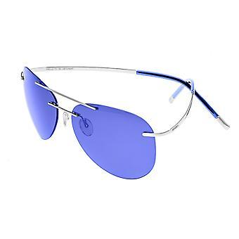 Rasse-Luna polarisierte Sonnenbrille - Silber/lila-blau