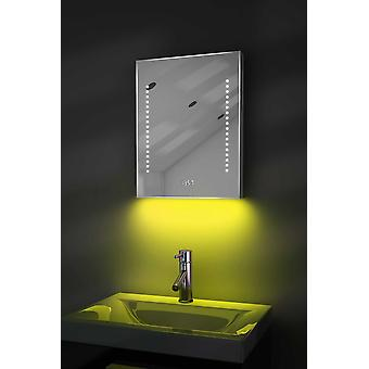Clock Mirror with UnderLighting, Bluetooth, Demist & Sensor k189Waud