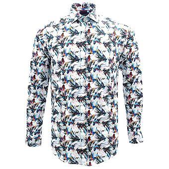 Gids Londen exotische vis print zuiver katoen lange mouw mens shirt