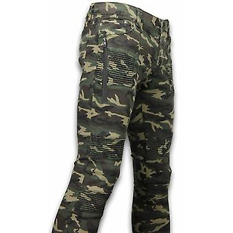 Ripped Camo Jeans - Slim Fit Biker Jeans Camouflage - Vert