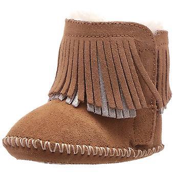 Kids Ugg Australia meisjes Branyon Fringe enkel Slip op sneeuw laarzen